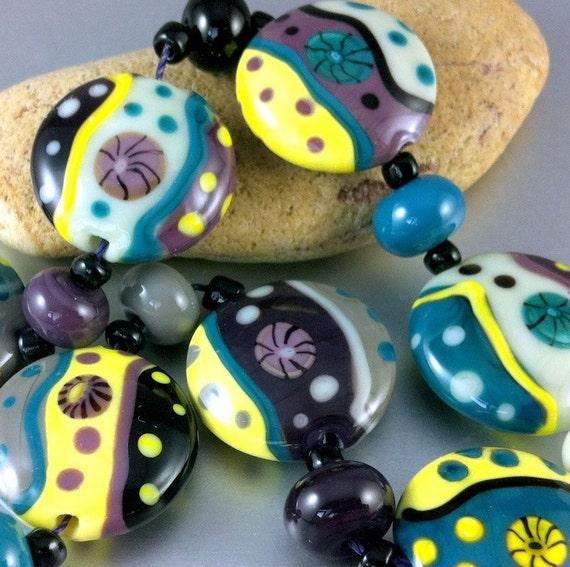 City Park - Handmade Lampwork Glass Bead Set (15) by Anne Schelling, SRA
