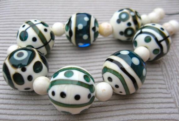 Sale - Topkapi - Handmade Lampwork Glass Bead Set (7) by Anne Schelling, SRA
