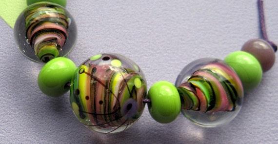 Hello Spring - Handmade Lampwork Bead Set (9) by Anne Schelling, SRA