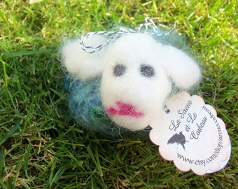 Dream Ambassador (Blue/Green Needle Felted Sheep)