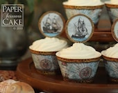 Pirate Ships -Printable Cupcake Topper And Wrapper Set- Simply Print, Cut, Assemble, Enjoy