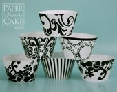 Cupcake Wrapper, Black And White, Printable Set For Your Wedding, Birthday Or Any Day - Simply Print, Cut, Assemble, Enjoy