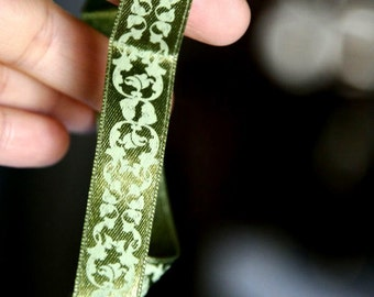 1 Yard Green Satin Ribbon For Your Craft Projects Scrapbooking Greeting Card Making