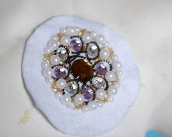 Fancy Beaded Applique Patch For Gowns, Dresses, Fashion Projects, Altered Couture, Costume or Jewelry Design