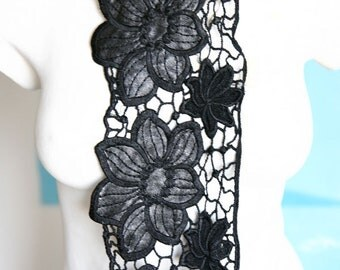 Fancy Venice Lace Collar Applique Yoke For Gowns, Dresses, Fashion Projects, Altered Couture, Costume or Jewelry Design