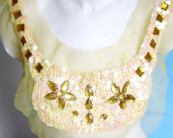 Fancy Beaded Venice Collar Applique Yoke With Sequins For Gowns, Dresses, Fashion Projects, Altered Couture, Costume or Jewelry Design