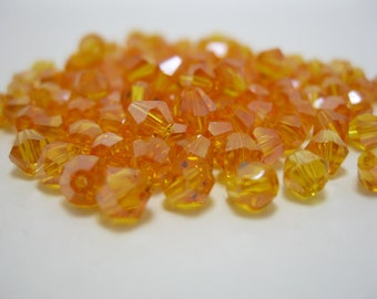 20 Pieces Yellow Color Swarovski Crystal Bicone Faceted Beads 4mm