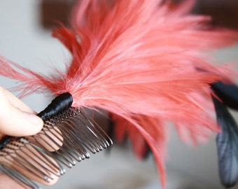 Pink Feather Flower Hair Comb Clip Hair Fascinator For Weddings Events Parties Bridal Wear Bridesmaids Gift Sweet 16 Prom