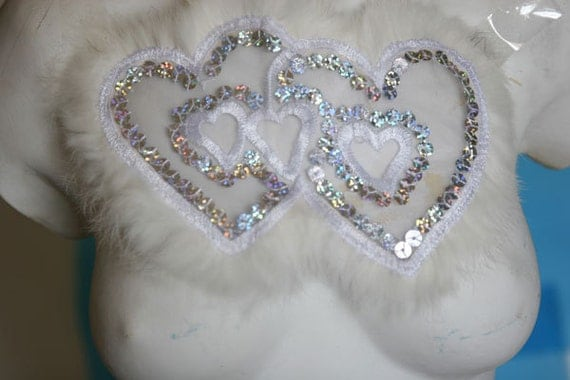 Fancy Beaded Applique Patch With Sequins And Fur For Gowns, Dresses, Fashion Projects, Altered Couture, Costume or Jewelry Design