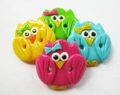 Cute little owls - set of 4 polymer clay  buttons READY TO SHIP!!