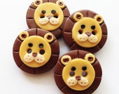 Little Lion polymer clay handmade buttons (girly and boyish version available)
