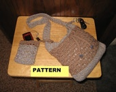 Crochet Pattern, DRAWSTRING PURSE w Attached Cell Phone Ipod Holder And Key Ring