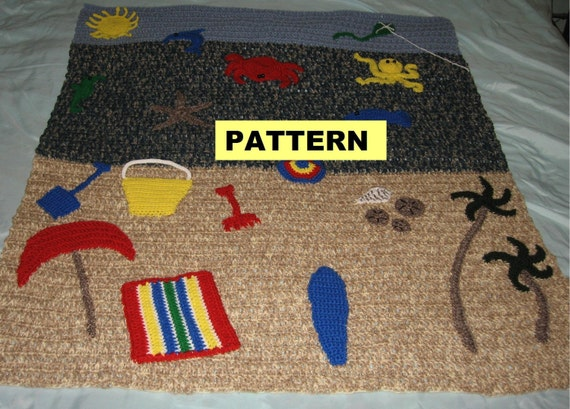 Crochet Afghan Pattern - Fun In The Sun BEACH BLANKET THROW