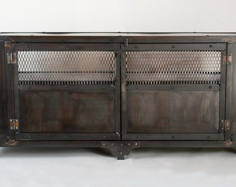 custom handmade industrial metal media cabinet tv stand console table center