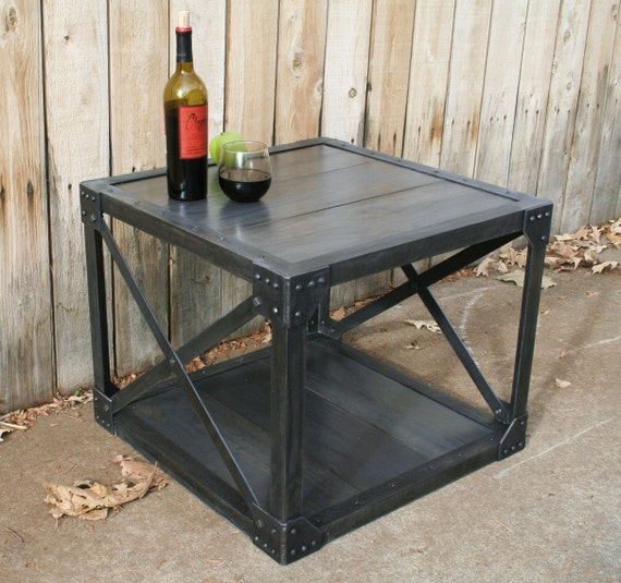 Vintage handmade wood & metal industrial coffee table, urban bistro/cafe table, console, TV stand, side table, accent table, square table
