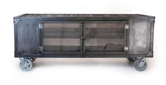 Industrial rolling media cabinet tv stand on by jrealfurniture - Table bar industriel ...