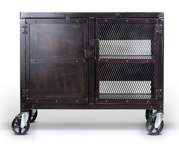 Industrial Steel Cabinet With Casters Wine Liquor Cart By