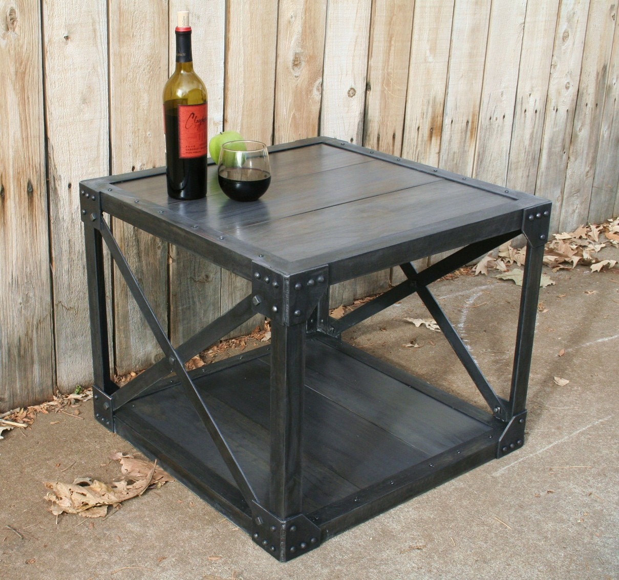 Vintage handmade wood metal industrial coffee table urban Industrial metal coffee table