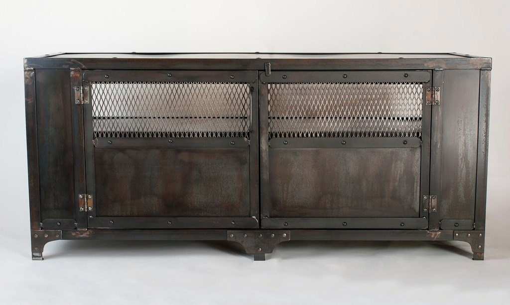 Metal Tv Stand Designs : Custom handmade industrial metal media cabinet tv stand