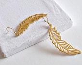 Feather Gold Earrings Vermeil Ear Hooks