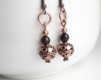 Dark Botswana Agate in Copper Earrings Dangle Earrings Brown