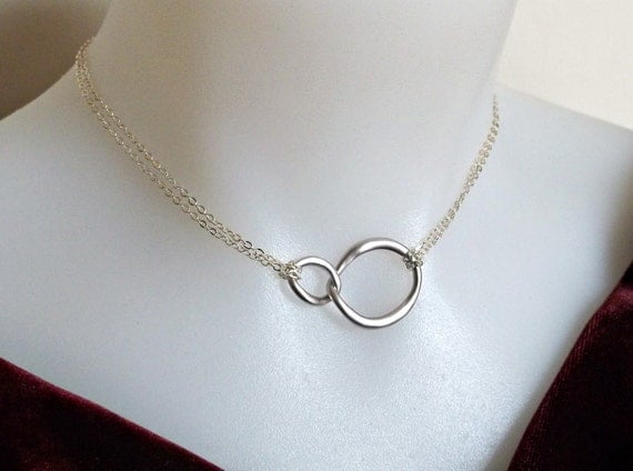 SUMMER SALE 25%OFF  Infinity Necklace in Sterling Silver- Double Chain- Eternity Necklace