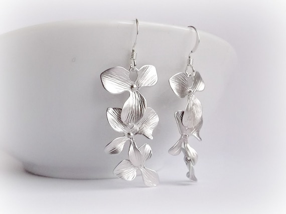 SUMMER SALE 25%OFF  Three Orchids Sterling Silver Earrings
