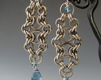 Bike Chain Chainmaille Earrings with London Blue Topaz