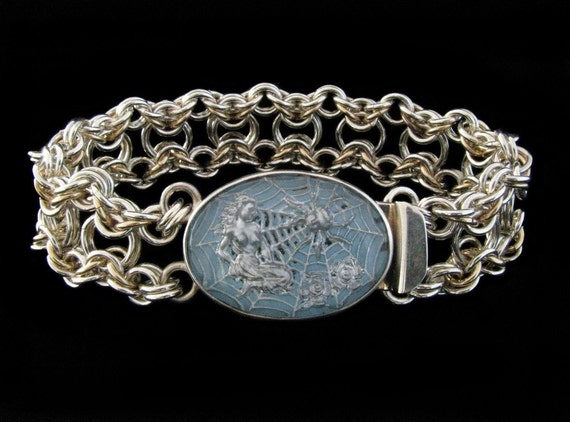 Silver and Gold Bike Chain Chainmaille Bracelet with Little Miss Muffet Clasp