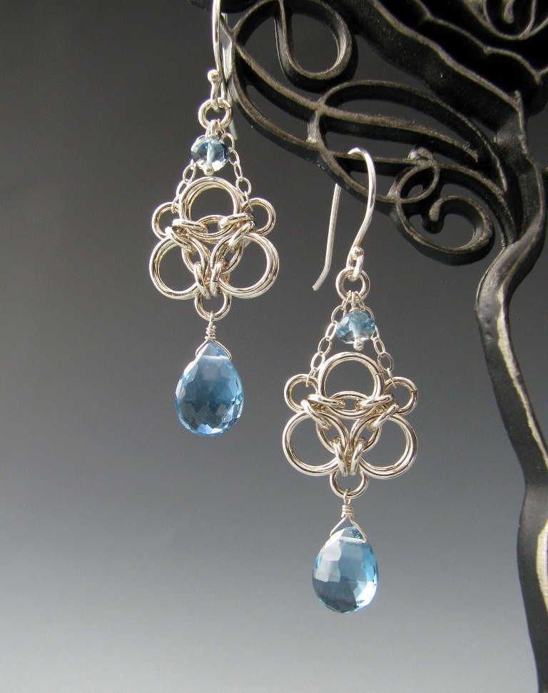 Aura Weave Chainmaille Earrings With London Blue Topaz