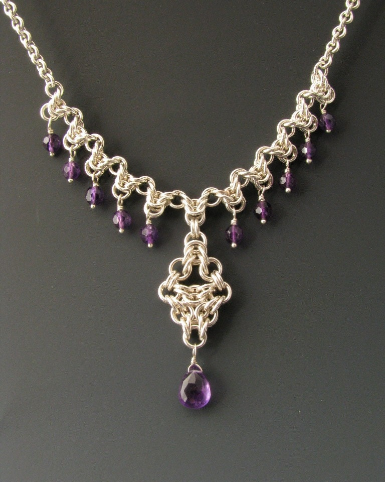 Make A Chain Mail Bracelet: Arrow Drop Chainmaille Necklace With Amethyst