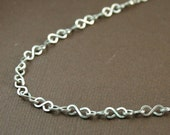 BOGO sale - Infinity Link Swag Necklace, Argentium Sterling SIlver with handforged link and clasp