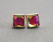 Geometric Asymmetrical Faceted Cube Crystal Stud Earrings, Watermelon Pink & Green, Sterling Silver and Swarovski Crystal