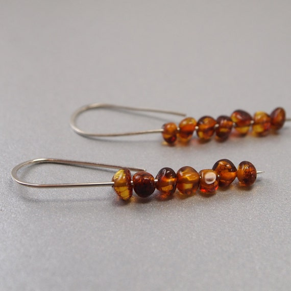 BOGO sale - Simple Dangle Earring Natural Cognac Amber Baroque Beads on Ethically mined Sterling Silver -Everyday, modern, Long Margaux