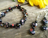 Black Millefiori Bracelet & Earring Set
