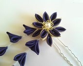 Royal Purple Fabric Flower Kanzashi Hair Fork