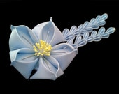 Sky Blue Bellflower Kikyo Fabric Flower Hair Ornament / Stick Tsumami Kanzashi with Wisteria Falls