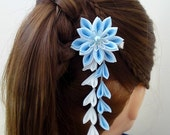 Light Sky Blue and White Fabric Flower Hair Alligator Clip Hana Tsumami Kanzashi