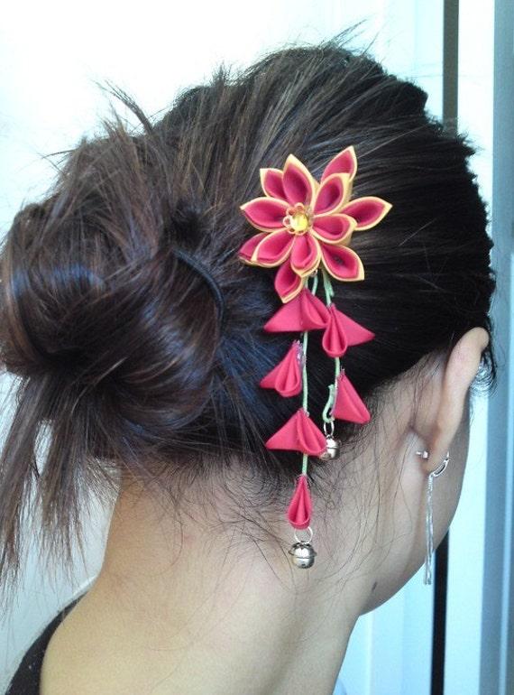 Fabric Flower Hair Fork Hana Tsumami Kanzashi Red Gold