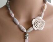 Rose Quartz and Agate Necklace (sku392)
