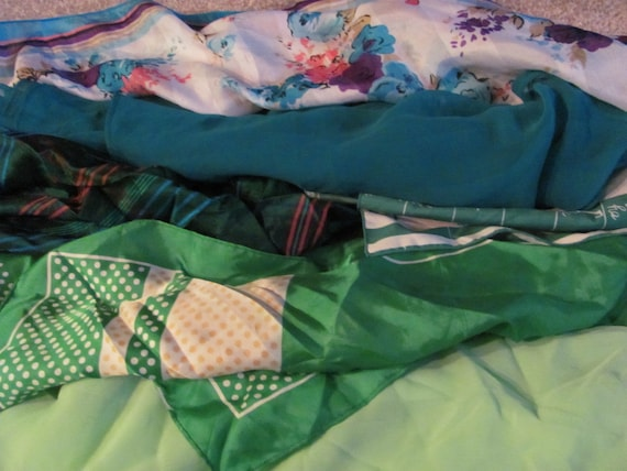 Assorted Lot of 6 Green Colored Scarves