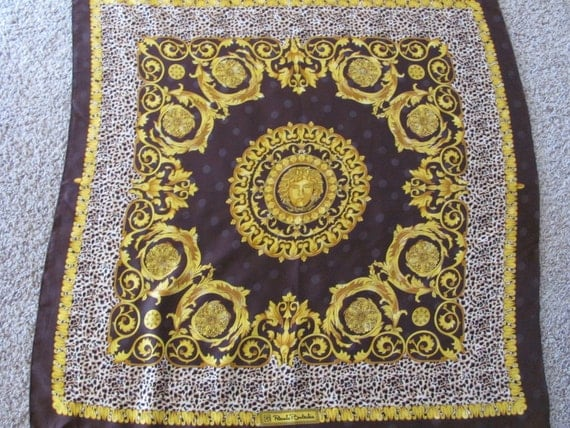 Brown Gold Renato Balestra Silk Scarf 36 x 36 Square - Best of the Best