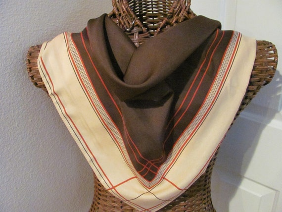 Beautiful Retro Poly Ladies Scarf - 26 x 26 Square - Eileen Wood