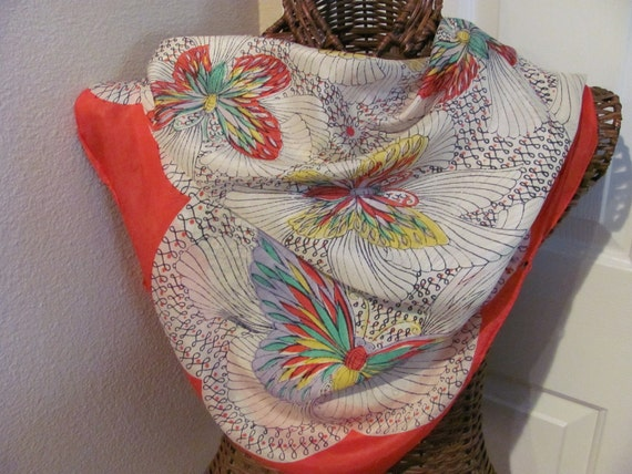 Beautiful Ladies White Red Butterfly Silk Scarf  - 33 x 3 Square