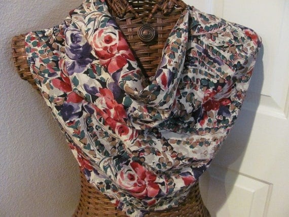Beautiful Floral Ellen Figg Rayon Scarf - 33 x 33 Square
