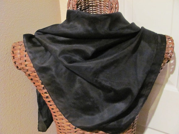 Beautiful Solid Black Silk Scarf - 31 x 31 Square