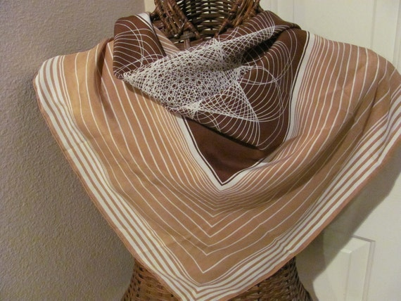 Beautiful Beige White Paco Rabanne Silk Scarf - 32 x 32 Square - Made in Paris France
