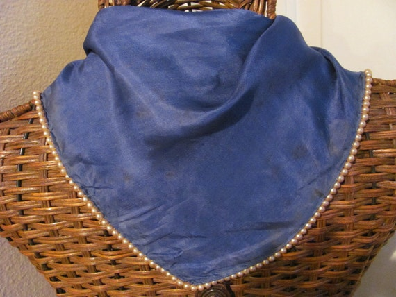 Vintage Small Blue Silk Pearl Beaded Triangle Scarf - 9 x 29