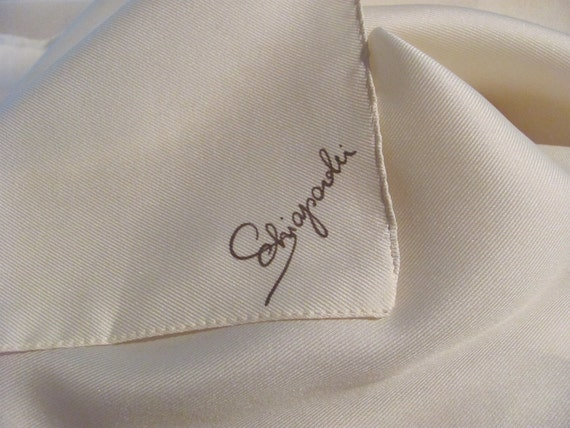 Lovely Solid Ivory Schiaparelli Poly Scarf - 21 x 21 Square