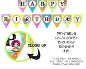 Printable DIY Button Doll Theme Birthday Banner